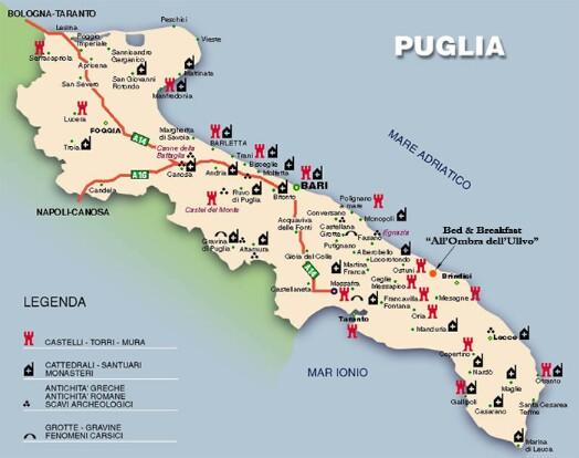 Cartina Puglia Carovigno.Informazioni Turistiche Bed Breakfast All Ombra Dell